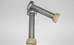 piolo con testa collaborante con ferula-ceramica per contenimento bagno di saldatura crteurosadature_com