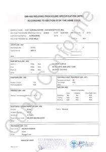 certificato WPS orizzontale attraverso lamiera diametro 13 IX ASME Code