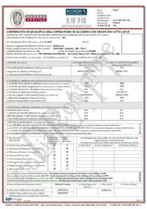 certificato di qualifica operatore in accordo con UNI EN ISO 14732-2013